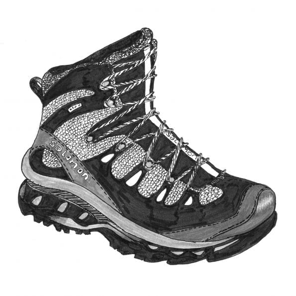 Ink drawing of hiking boot