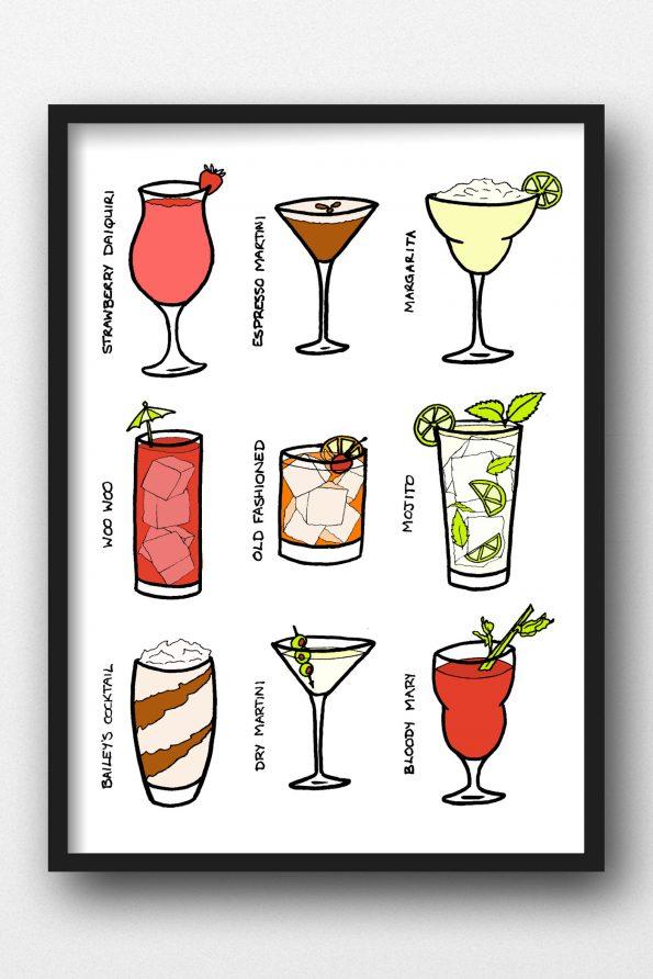 A4 Cocktails Print