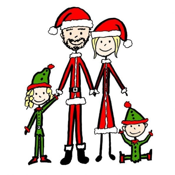 Christmas cards - stick figure family portrait