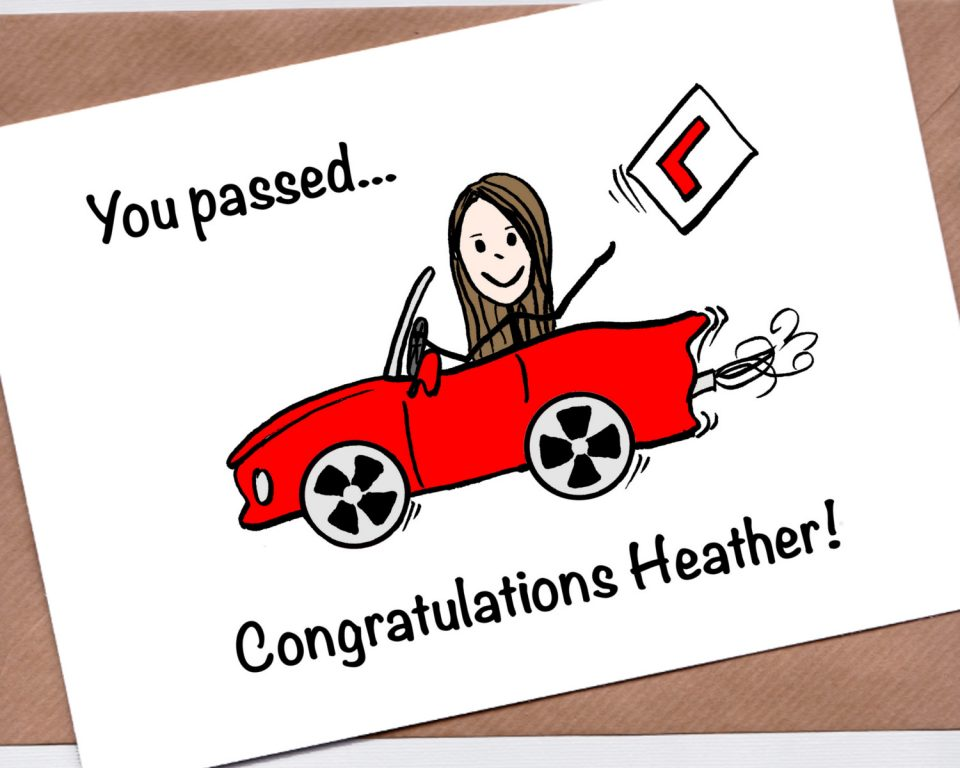 Driving test card - girl with red car