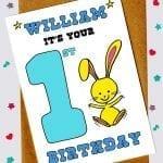 Children's Birthday Cards - Bunny rabbit 1st birthday card