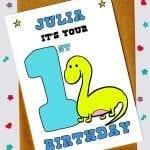 Children's Birthday Cards - Dinosaur 1st birthday card