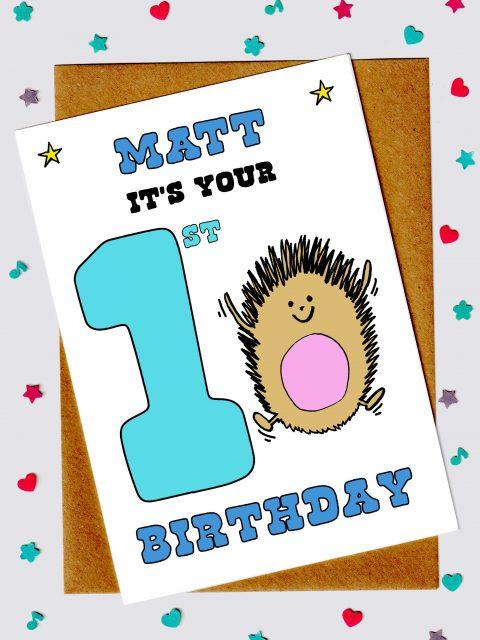 Children's birthday cards - Hedgehog 1st birthday card