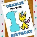 Children's Birthday Cards - Unicorn 1st birthday card