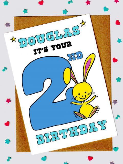 Children's Birthday Cards - Bunny Rabbit 2nd Birthday Card