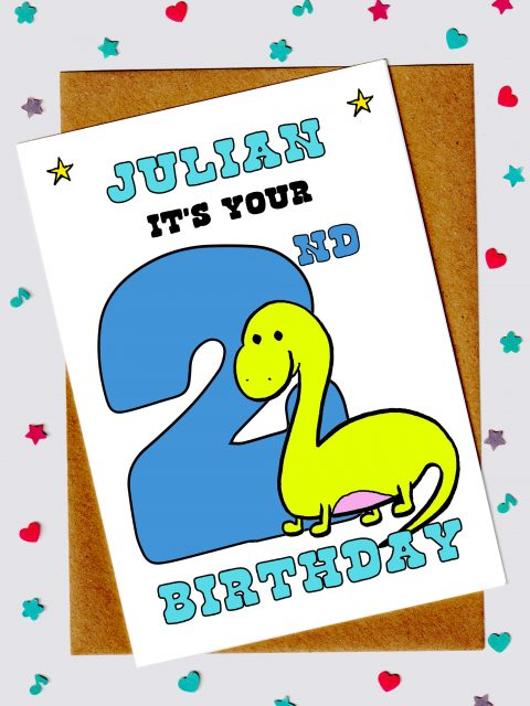 Children's Birthday Cards - Dinosaur 2nd birthday card