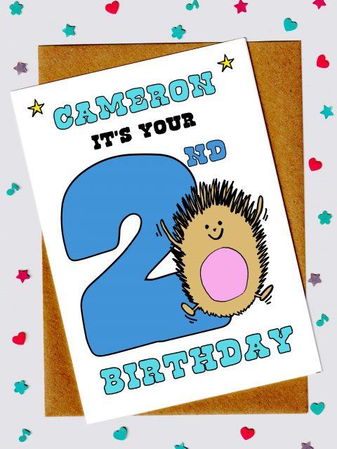 Children's Birthday Cards - Hedgehog 2nd birthday card