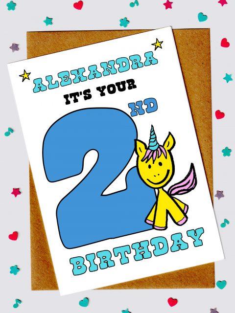 Children's Birthday Cards - Unicorn 2nd birthday card