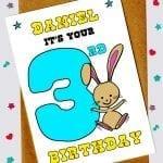 Children's Birthday Cards - Bunny Rabbit 3rd Birthday Card