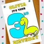 Children's Birthday Cards - Dinosaur 3rd Birthday Card