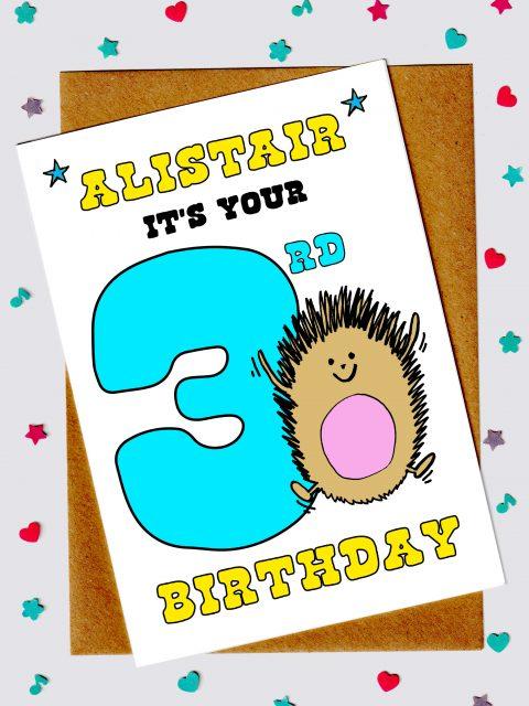 Children's Birthday Cards - Hedgehog 3rd Birthday Card