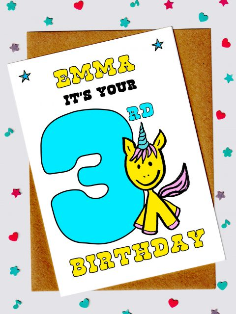 Children's Birthday Cards - Unicorn 3rd Birthday Card