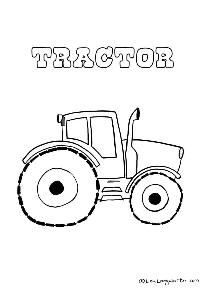 Tractor colouring in page
