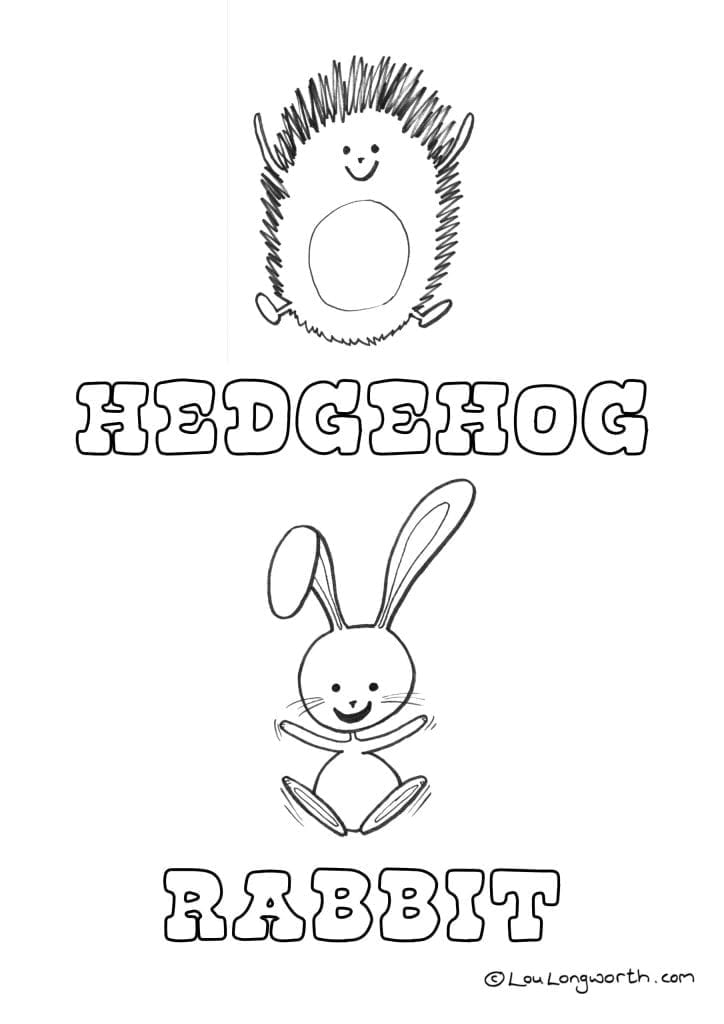hedgehog and rabbit free kids colouring in page