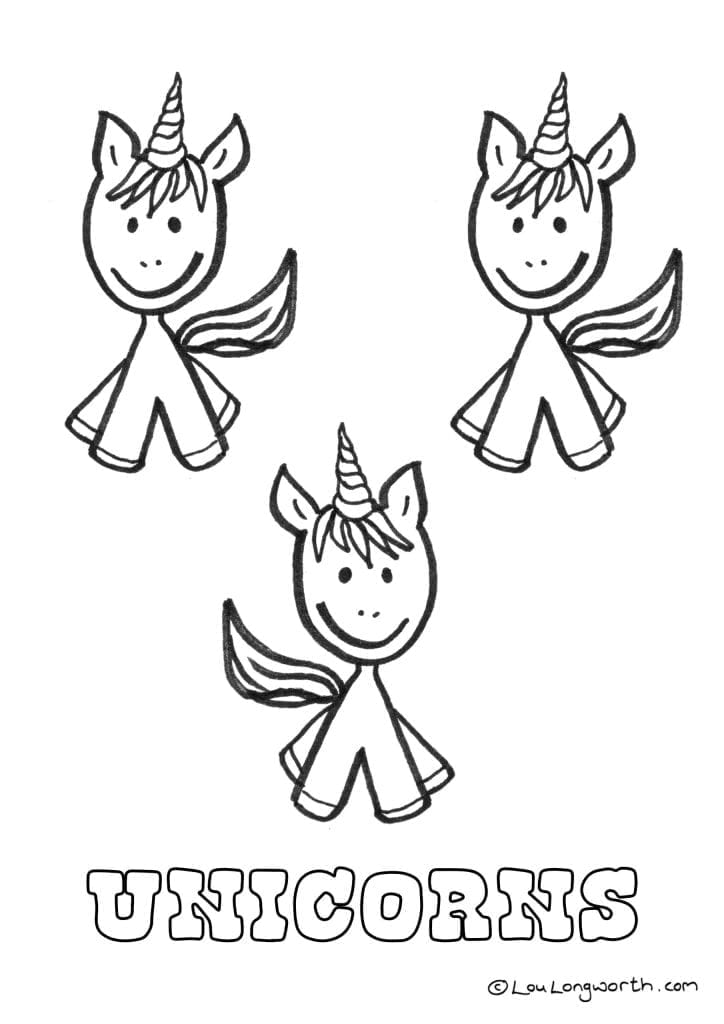 Free unicorn colouring in page