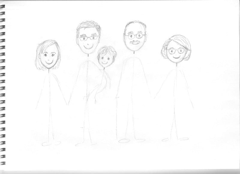 Custom cartoon portrait heads sketch