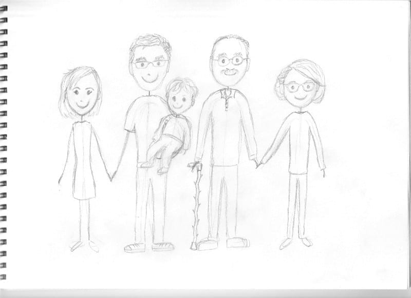 pencil sketch of family