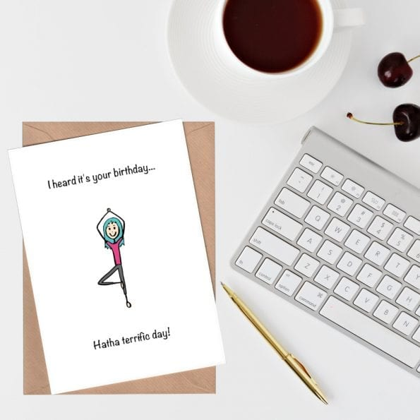 Sportsy Greeting Card Collection - Yoga birthday card