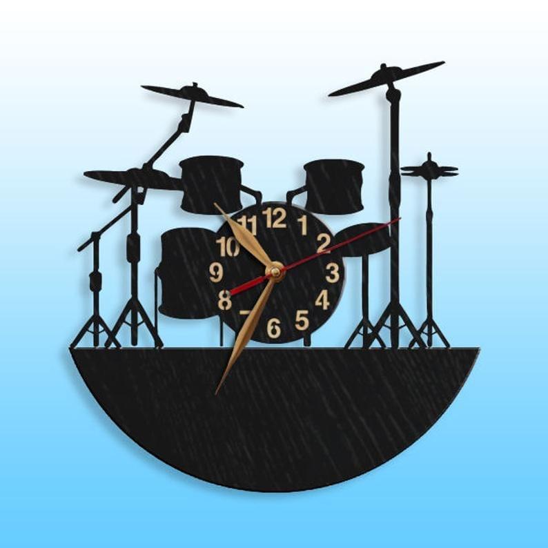 Drummer wooden clock
