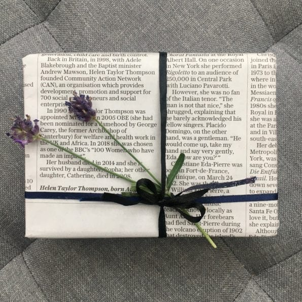eco friendly gift wrapping with newspaper