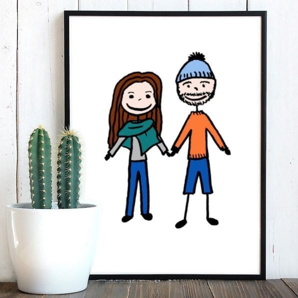 Custom illustration cartoon couple portrait