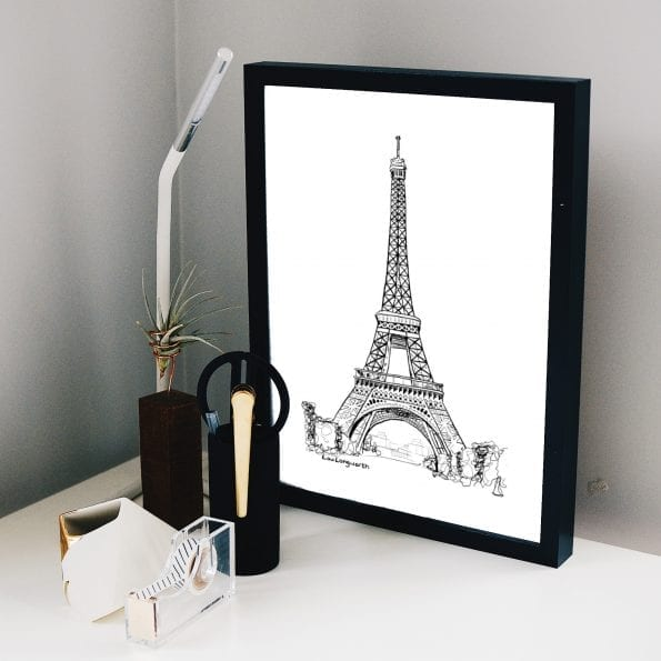 Custom illustration prints - Eiffel Tower