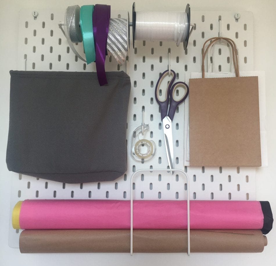 Peg board gift wrapping station