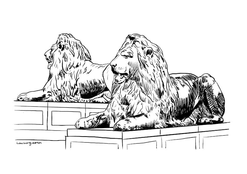 Custom illustration prints - Lions at Trafalgar Square