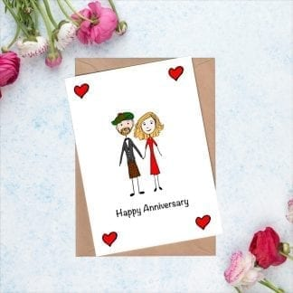 Personalised first anniversary card with cartoon portraits