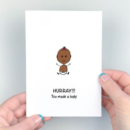 new baby card for girl dark skin pink bow