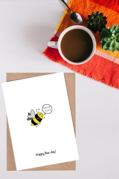 Happy bee-day birthday card