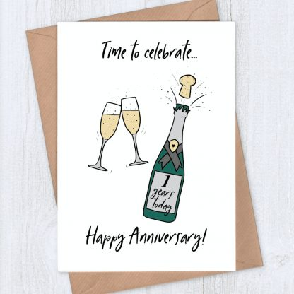 Champagne 1st year anniversary card