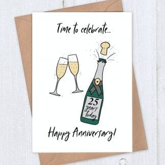 Champagne 25th anniversary card