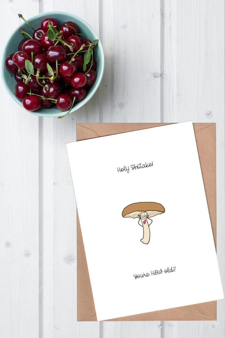 Holy Shiitake birthday card