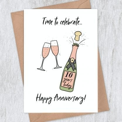 Pink Champagne 10th anniversary card