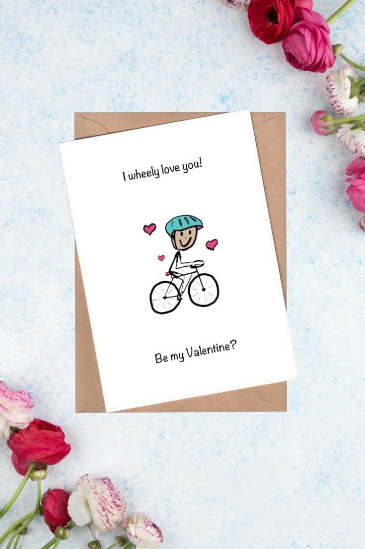 Cyclist Valentine Card - I wheely love you