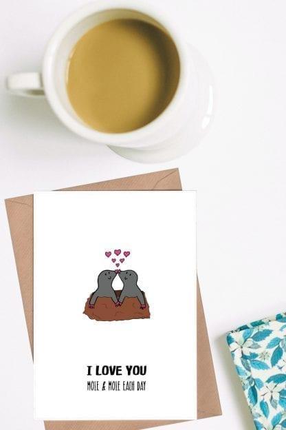 I love you mole and mole each day romantic card pin