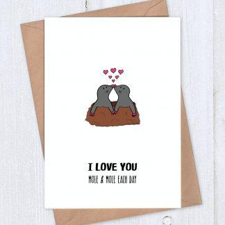 Romantic card - I love you mole and mole each day