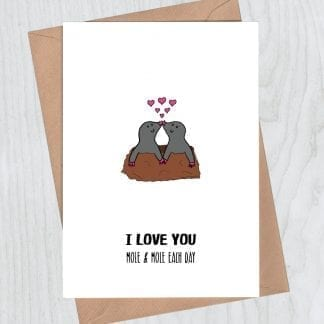 I love you mole and mole romantic card