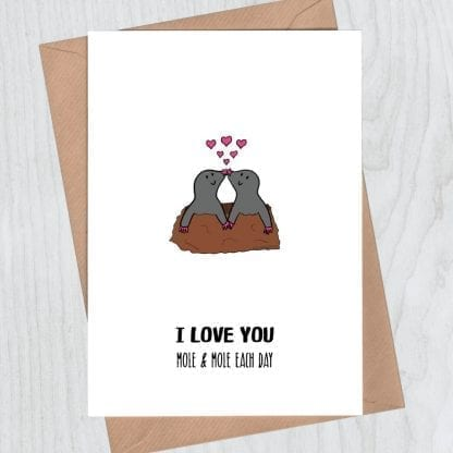 I love you mole and mole romantic card