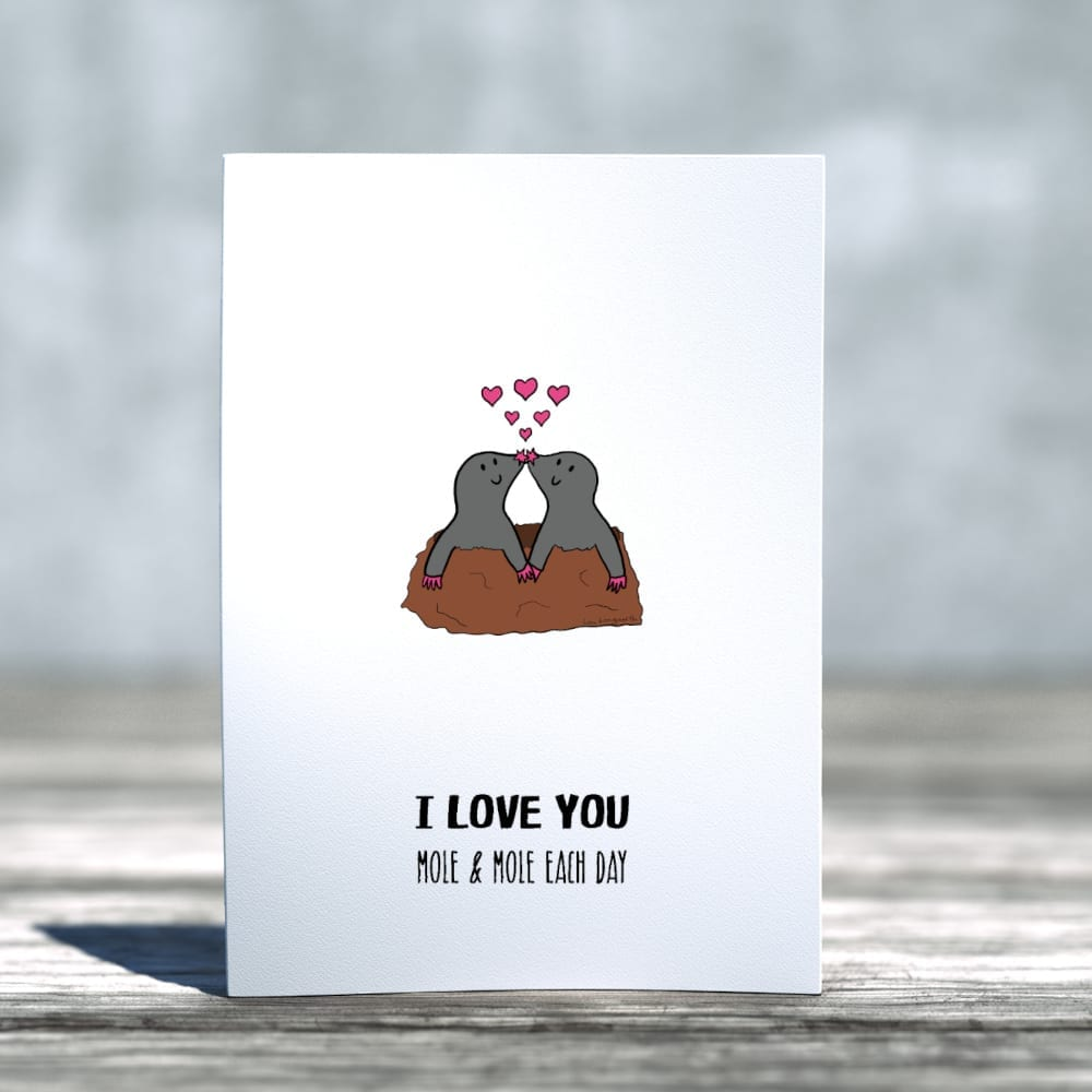 I love you mole and mole each day romantic card standing