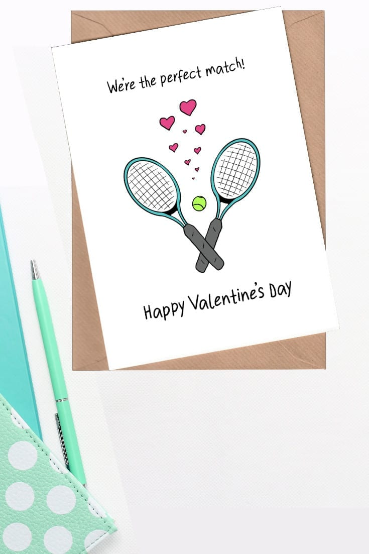 Tennis raquets card - perfect match valentine card