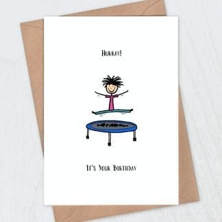 Trampoline birthday card - Hurray it's your birthday