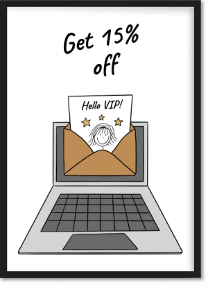 VIP signup banner image - get 15% off
