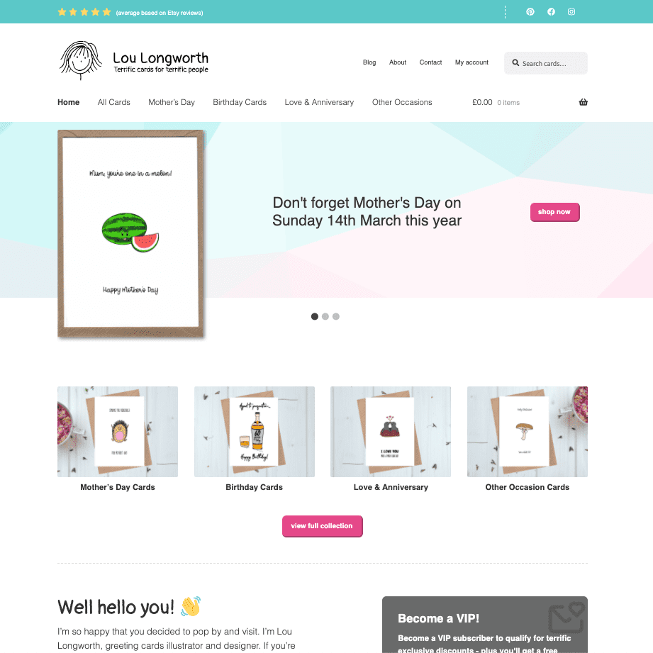 greeting card website relaunch