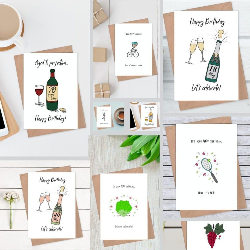 Milestone Birthday Cards Collage