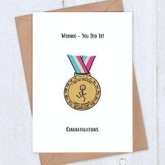 Running medal - congratulations card