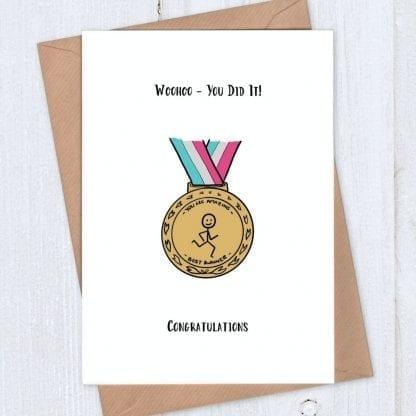 Running medal - congratulations card for runner