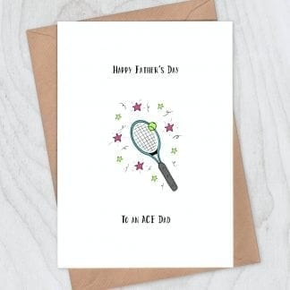 Tennis racquet card - ace fathers day greeting card