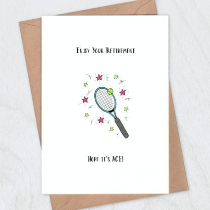 Tennis racquet card - ace retirement card